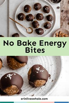 Fuel up and recharge with No Bake Energy Bites made with dates, almonds, oats, salt, and chocolate! It's the perfect ingredient combo that supplies nutritious vitaminsandgreat flavor. Melt Chocolate In Microwave, Melting Chocolate, No Bake Energy Bites, Protein Ball, Weight Loss Snacks, Tray Bakes, Baking Recipes, A Food, Food Processor Recipes