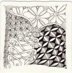 Ein Zentangle aus den Mustern Strimonds, Murphy, Plezo, Windu gezeichnet von Ela Rieger, CZT