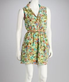 Take a look at this Green Floral Belted Dress by Bailey Blue on #zulily today!