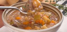 Slow Cooker Beef Barley Soup With Olive Oil, Beef Stew Meat, Yukon Gold Potatoes, Medium Carrot, Onions, Celery, Garlic, Beef Broth, Dried Thyme, Diced Tomatoes, Barley, Salt, Pepper
