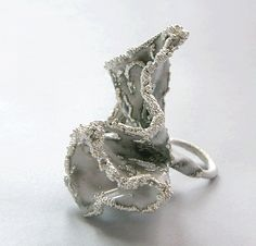 "Ring | COLLEEN CORINNE TERRY-USA ""Finger corsage"" Electroformed copper, enamel, and sterling silver"