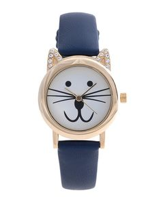 Adorn your wrist with this sweet cat watch. The crystal pave ears give the watch just a touch of glam. @taycay62