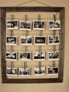 Old frame and hanging photos