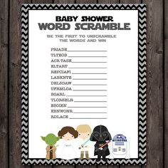 starwars baby shower word scramble game star by AmysDesignShoppe