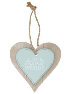 'Love beyond words' hanging heart