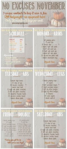No Excuses November Workout Plan