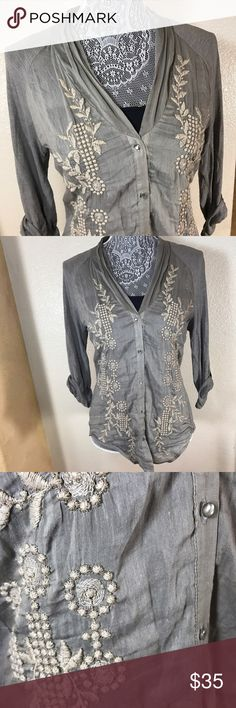 TINY Embroidered Hybrid Blouse! Sz S Tiny Embroidered Hybrid Blouse! Sz S •EUC • Beautiful intricate embroidery on front •Back of blouse is jersey material •Pleats at neck and on shoulders see pics •Roll up sleeves with buttons Tiny Tops Blouses