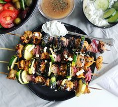 Grilled Greek chicken skewers with zucchini, red onion + tzatziki, via Jenerous Plates