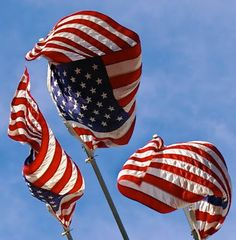Three American Flags Wave In The Wind #USA, #americanflag, #pinsland, https://apps.facebook.com/yangutu