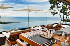 Restaurant and incredible infinity pool overlooking breathtaking views at Kura Design Villas in Uvita, Costa Rica