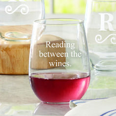 When it's your turn to host book club, send everyone home with their own personalized wine glass with a funny saying about books and wine, the name of your club, or just each person's name.