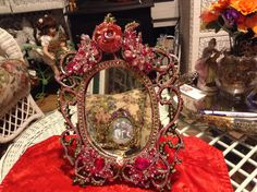 Vintage jeweled  brass frame mirror with pink by cindysvictorian