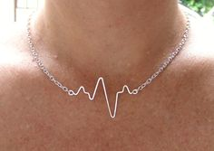 Heartbeat Necklace, EKG, Beating Heart, Pulse Necklace, Silver Gold or Copper, Wife Girlfriend Nurse Gift, Handmade Wire Heartbeat Jewelry