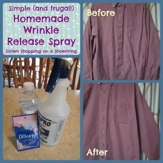 Homemade Wrinkle Release Spray This could help those first few Back To School Mornings go a little smoother! DIY Wrinkle Release Spray is such a great thing to have on hand! Click through to learn how to make it! Sisters Shopping on a Shoestring Homemade Cleaning Products, Cleaning Recipes, Cleaning Hacks, Diy Cleaners, Cleaners Homemade, Household Cleaners, Wrinkle Release, Laundry Hacks, Laundry Supplies