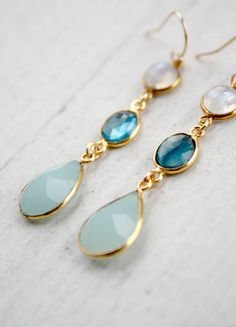 beautiful blue and gold tier earrings