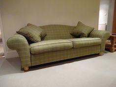 Kirsty Lockwood Furnishings re-upholstered sofa in Voyage Isla, Forest Plaid / tartan