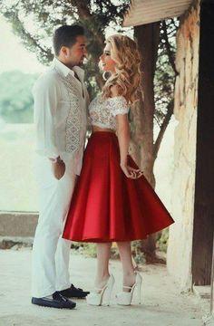 Two Piece Homecoming Dress,Red Satin Homecoming Dress,Lace Homecoming Dress,Off-the-shoulder Prom Dress,Tea-Length Party Dress