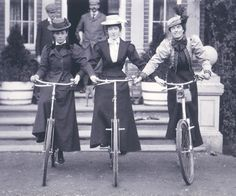 Women on bicycles, 1898 England 1898 Photograph showing three smartly dressed young women sitting upright on bicycles, supporting one another by holding on to the handlebars. It seems a perfect metaphor for sisterhood and the emancipation of women. The names of the women have been inscribed beneath the photograph - Mabel Asser, Lily Carver and Laura.