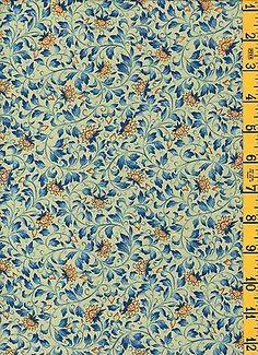 Quilting Sewing Cotton Fabric Kona Korakuen Tiny Yellow Blue Floral on Green