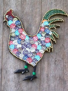Recycled beer caps and Mardi Gras beads create art.