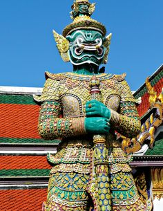 """Grand Palace and Temple of the Emerald Buddha - Grauda Statue - Bangkok Thailand. See this on the OAT """"Discover Thailand"""" adventure. For more information please visit http://www.oattravel.com/Trips/2013/Discover-Thailand-2013.aspx #bangkok #thailand"""