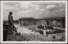 Stara razglednica Zagreba s motivom Starčevićevog trga iz fonda Grafičke zbirke NSK s početka 20. stoljeća.