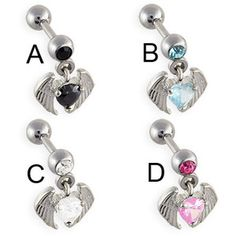 Straight barbell with dangling jeweled heart with wings