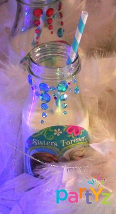 So cute - glitter/rhinestone decorations around bottle necks. Could also use on glass cloches and things!!!