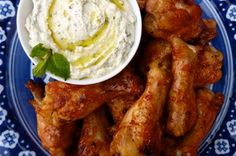 Blood Orange Glazed Chicken Wings with Minted Whipped Feta, a recipe on Food52