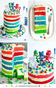 PJ Maks Birthday Cake an Easy DIY layered birthday cake idea for a little boys or little girls birthday party Pj Masks Birthday Cake, Diy Birthday Cake, Homemade Birthday Cakes, Boy Birthday Parties, Homemade Cakes, Birthday Ideas, 3rd Birthday, Birthday Cakes For Boys, Geek Birthday
