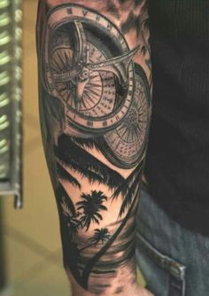Compass Tattoo Half Sleeve