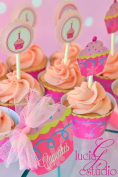 Cupcake Birthday Party Dessert Table decorations by Lucia G Estudio with @Daniela Castro sweet treats