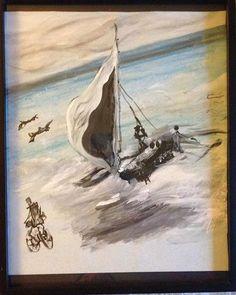 """Sailing"", 8x10 pastel, acrylic, colored pencil $100 #sailing #art #myart #supportlocalartists #bremerton #starvingartist"