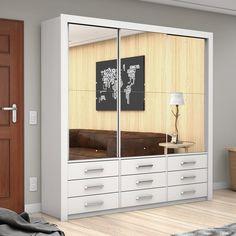 14f54a539 Compre Guarda Roupa Casal 3 Espelhos 3 Portas de Correr Anjos Premium Siena  Móveis Branco em
