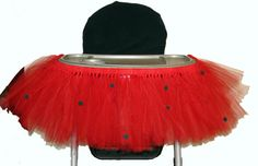 Ladybug Highchair Tutu TEMPORARY Seat Cover 1st 2nd by LunasFolly, $30.00