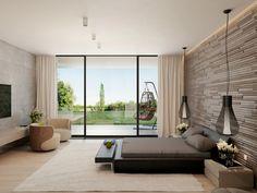 cama y banco negro en el dormitorio al estilo minimalista