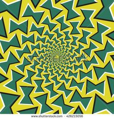 Optical illusion background. Green bows revolves circularly from the center on yellow background.