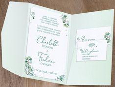 Lorsque vous ouvrez la pochette, vous découvrez un grand encart d'impression rectangulaire, décoré de feuillages en camaïeu de verts imprimés façon aquarelle, ainsi que deux cartes plus petites décorées de la même façon. Le grand encart permettra l'impression de votre texte principal, tandis que les deux autres petites cartes, insérées dans les fentes de la pochette, prévues à cet effet, accueilleront les textes pour les invitations (repas, retour, etc.).  #mariage #fairepart… Wedding Cards, Bullet Journal, The Originals, Impression, Ainsi, Invitations, Paper, Lunges, Watercolor Painting
