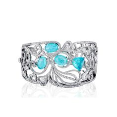 Boodles Paraíba tourmaline and diamond cuff in platinum from the Atlantic Blue collection