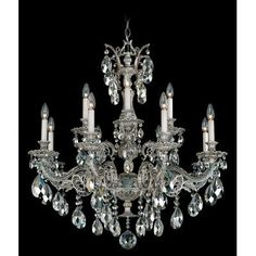 Schonbek Milano 12 Light Crystal Chandelier Base Finish: French Gold, Shade Color: Optic Clear