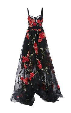 Spaghetti Straps Black Tulle Garden Prom Dresses with Flowers - Moda Garden Prom Dresses, Mode Glamour, Illustration Mode, Mode Inspiration, Beautiful Gowns, Dream Dress, Pretty Dresses, Dress To Impress, Evening Dresses