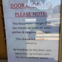 Soliciting Door Sign