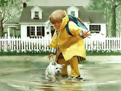 I Love Donald Zolan's paintings- little boy playing in the puddle with his dog