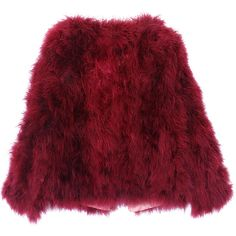 Spring Retro Ostrich feathers Fur Coat ❤ liked on Polyvore featuring outerwear, coats, jackets, coats & jackets, tops, retro coat, red fur coat, ostrich feather coat, red coat and fur coat