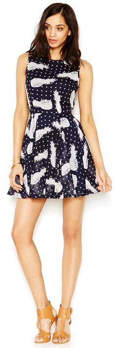 Maison Jules Pineapple-Print Fit-and-Flare Dress.  I won't lie about her legs being a big part of why I pinned this.  But I also like those sandals she's wearing!  This from a man who rarely has an opinion about women's footwear.