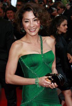 Michelle Yeoh - 2009 Cannes Film Festival Asian Celebrities, Asian Actors, Celebs, Michelle Yeoh, Bond Girls, Monica Bellucci, Cannes Film Festival, Green Dress, Asian Woman