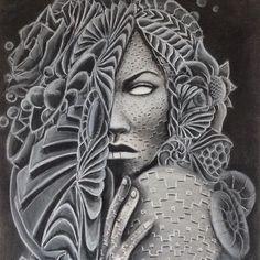 "Older piece I did a while back. ""Body Language"" Charcoal  Canvas prints available  #art #charcoal #figureart #fractals #sacredgeometry #visionaryart #johngayart"