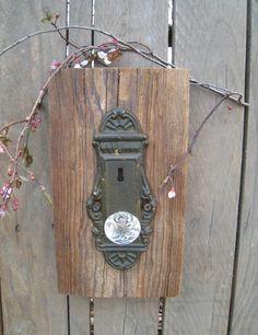 reclaimed wood crystal door knob wall hanging.. $35.00, via Etsy. Crystal Door Knobs, Glass Door Knobs, Old Door Desk, Headboard From Old Door, Interior Barn Door Hardware, Home Door Design, Black Door Handles, Contemporary Doors, Door Makeover