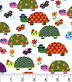 Snuggle Flannel Fabric-Bright Turtles