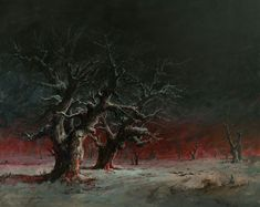Artist: Raha Mohseni Kermanshahi  Title: The burned land (Oak trees of Zagros- Iran) Size: 200*250 cm Material: oil painting  نام هنرمند : رها محسنی کر مانشاهی  نام اثر :  سرزمینی که سوخت ( بلوط های زاگرس ) اندازه :200x250cm تکنیک :  رنگ و روغن